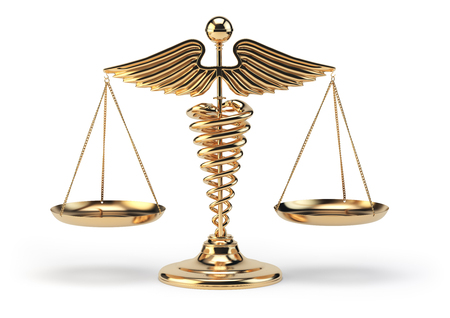 opinions: Medical caduceus symbol as scales. Concept of medicine and justice. 3d illustration Stock Photo
