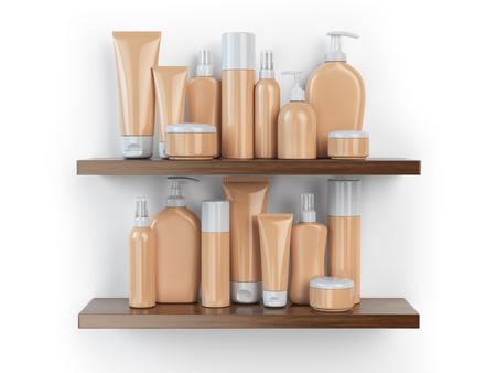 toiletries: Shelf with cosmetics and toiletries.