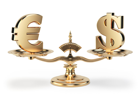 Scale with symbols of currencies euro and US dollar isolated on white background. 3d illustration Stock Photo
