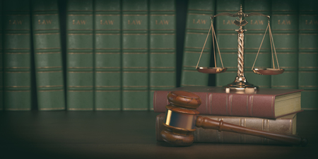 scale of justice: Gavel and scale on the background of vintage lawyer books. Concept of law and justice. 3d illustration