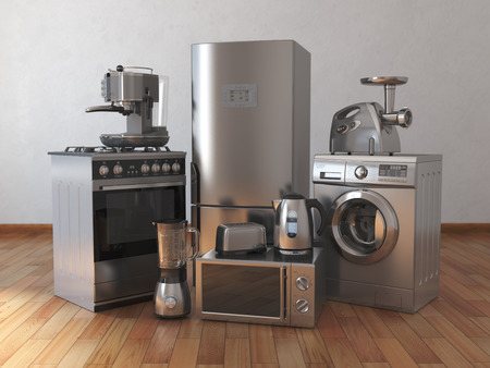 Home appliances. Household kitchen technics in the empty room. 3d illustration Stock Photo