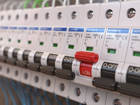 Switches in fusebox. Many black circuit brakers in a row in position OFF and one red switch in position ON. 3d illustration Foto de archivo