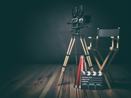 Video, movie, cinema concept. Retro camera, clapperboard and director chair. 3d illustration Zdjęcie Seryjne
