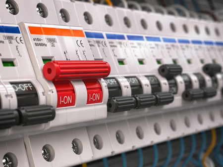 Switches in fusebox. Many black circuit brakers in a row in position OFF and one red switch in position ON. 3d illustration Фото со стока