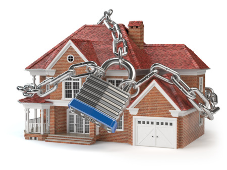 House with chain and padlock. Home security concept. 3d illustration