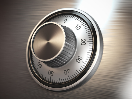 Veilig kluisslot op metalen deur. 3d illustratie