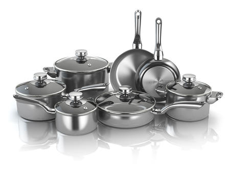 Pots and pans. Set of cooking stainless steel kitchen utensils and cookware. 3d illustration