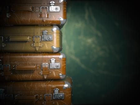 Vintage suitcases on the grunge background. Turism travel concept. 3d illustration