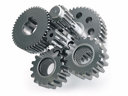 Engine gears wheels and cogwheels isolated on white background. 3d illustration