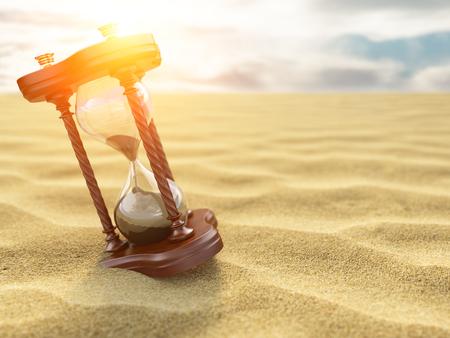 Hourglass clock on sand of desert background. 3d illustration Stock Photo