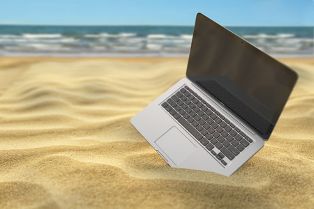 Computer laptop in the sand of the sea or ocean beach. Freelance or expatriation concept. 3d illustration Stock Photo