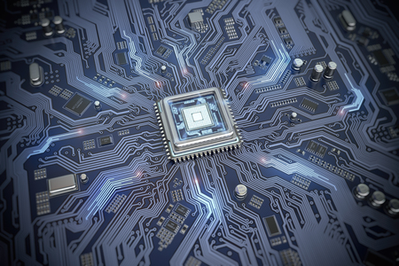 Circuit board with CPU.  Motherboard system chip with glowing processor. Computer´s technology and internet concept. 3d illustration Banque d'images