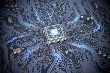 Leiterplatte mit CPU. Hauptplatinen-System-Chip mit leuchtendem Prozessor. Computer-Technologie und Internet-Konzept. 3D-Darstellung Standard-Bild