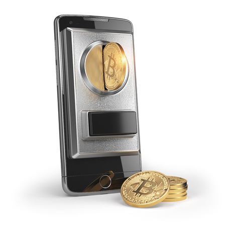 BItcoin coin and mobile phone  isolated on white. Pay by bitcoin concept. 3d illustration