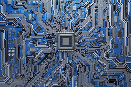 Computer motherboard with CPU. Circuit board system chip with core processor. Computer technology background. 3d illustration Standard-Bild