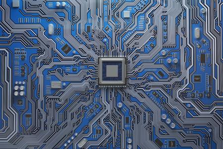 Scheda madre del computer con CPU. Chip di sistema del circuito stampato con core processor. Sfondo tecnologia informatica. Illustrazione 3D