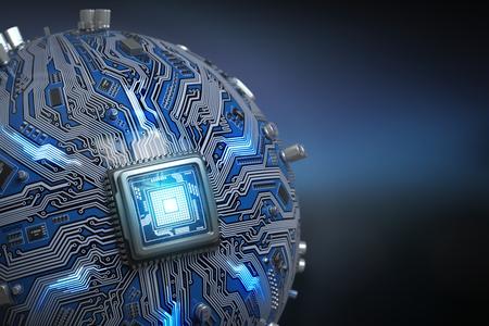コア プロセッサを搭載した回路基板システム チップ。CPU とマザーボードは球面コンピューター。未来のコンピューター技術の背景。3 d イラストレ 写真素材