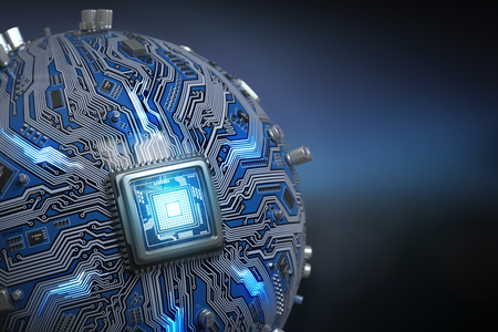 코어 프로세서가있는 회로 보드 시스템 칩. CPU가있는 구형 컴퓨터 마더 보드. 미래의 컴퓨터 기술 배경입니다. 차원 그림