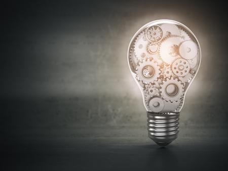 Gloeilamp en versnellingen. Perpetuum mobiel. Innovatie, creativiteit en idee concept achtergrond. 3D illustratie