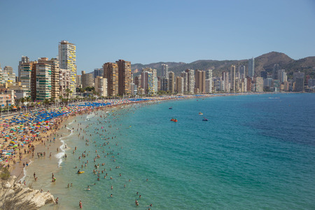 Coastline of a Benidorm. Aerial view of Benidorm, with beach and skyscrapers. Spain. Costa Blanca, Alicante