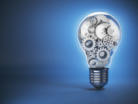 Light  bulb and gears. Perpetuum mobile. Innovation, creativity and idea concept background. 3d illustration