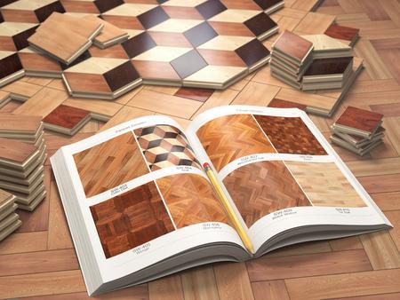 Pocos tipos de recubrimiento y catálogo de parquet de madera. Pila de tablones de madera del entarimado. Ilustración 3d