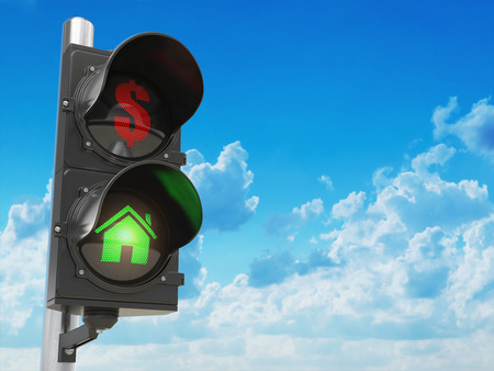 House and dollar symbols on the traffic light. Savings or real estate investment concept. 3d illustration