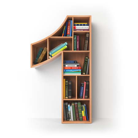 Number 1 one. Alphabet in the form of shelves with books isolated on white. 3d illustration 스톡 콘텐츠