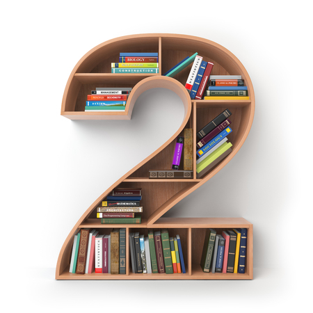 Number 2 two.. Alphabet in the form of shelves with books isolated on white. 3d illustration 스톡 콘텐츠