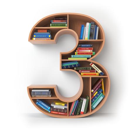 Nummer 3 drie. Alfabet in de vorm van planken met boeken op wit worden geïsoleerd dat. 3D illustratie
