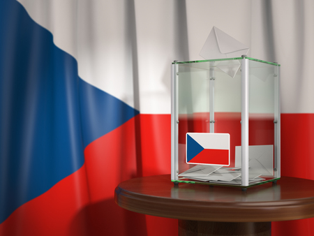 Ballot box with flag of Czech republic and voting papers. Czech presidential or parliamentary election. 3d illustration Stock Photo