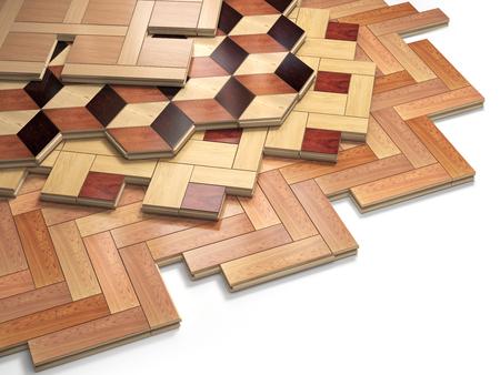 hardwood flooring: Stack ofr parquet wooden planks. Few types of wooden parquet coating. 3d illustration