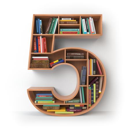 Nummer 5 vijf. Alfabet in de vorm van planken met boeken op wit worden geïsoleerd dat. 3D illustratie Stockfoto