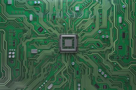 Carte mère d'ordinateur avec processeur. Circuit intégré à puce avec processeur central. Fond de technologie informatique. Illustration 3d Banque d'images
