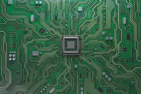 Computer motherboard with CPU. Circuit board system chip with core processor. Computer technology background. 3d illustration Banque d'images