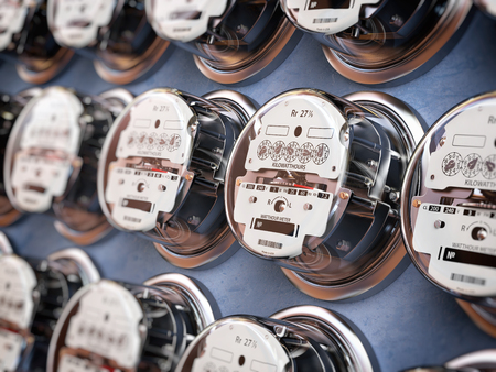 Electric meters in a row measuring power use. Electricity consumption concept. 3d illustration 스톡 콘텐츠