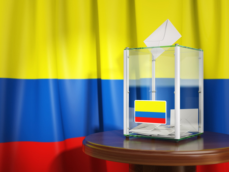 Ballot box with flag of Colombia  and voting papers. Colombian presidential or parliamentary election. 3d illustration Stock Photo