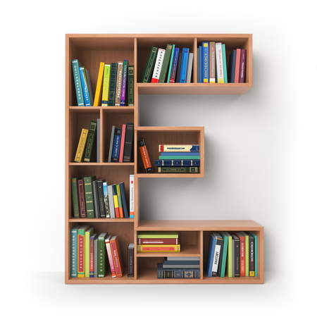 Letter E. Alphabet in the form of shelves with books isolated on white. 3d illustration Stock Photo