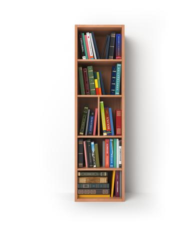 Letter I. Alfabet in de vorm van planken met boeken op wit wordt geïsoleerd. 3D illustratie Stockfoto