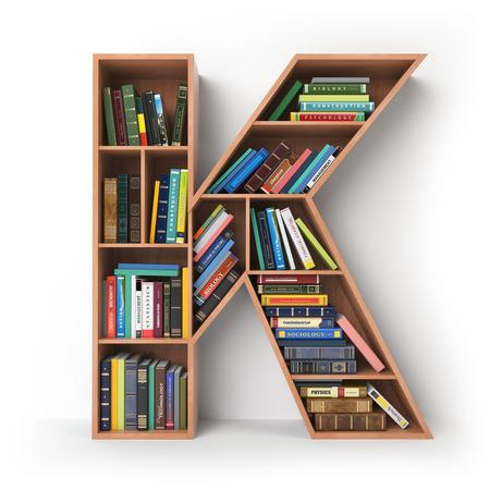 Letter K Alfabet in de vorm van planken met boeken op wit wordt geïsoleerd. 3D illustratie Stockfoto
