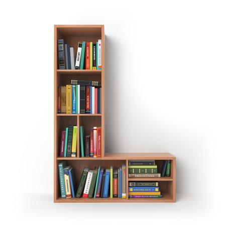 Letter D. Alfabet in de vorm van planken met boeken op wit wordt geïsoleerd. 3D illustratie