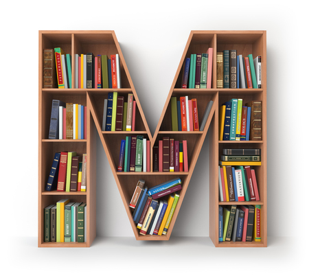 Letter M. Alphabet in the form of shelves with books isolated on white. 3d illustration