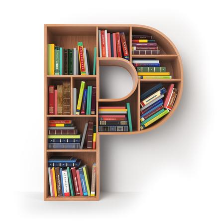 Letter P. Alfabet in de vorm van planken met boeken op wit wordt geïsoleerd. 3D illustratie