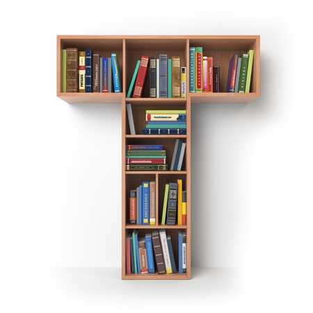 Letter T. Alphabet in the form of shelves with books isolated on white. 3d illustration Foto de archivo