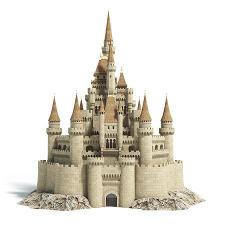 丘の上の古いおとぎ話の城は白に隔離されています。3Dイラスト。 写真素材