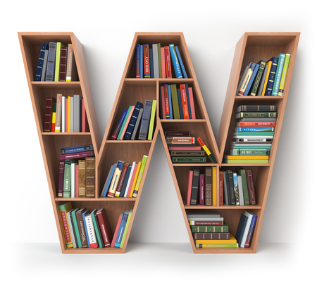 Letter W. Alfabet in de vorm van planken met boeken op wit wordt geïsoleerd. 3D illustratie