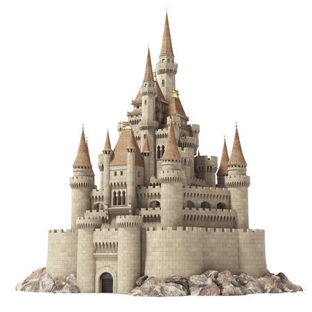 Oud sprookjeskasteel op de heuvel die op wit wordt geïsoleerd. 3D illustratie