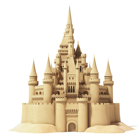 Fairytale sand castle isolated on white background. 3d illustration