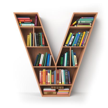 Litera V. alfabet w postaci półek z książkami na białym tle. ilustracja 3d