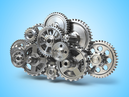 Engine gears in form of cloud. Cloud computing and networkin concept. 3d illustration Stock Photo